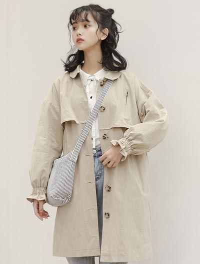 Solid color trench coat