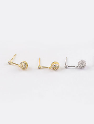 Faux-diamond 925silver alloy earrings