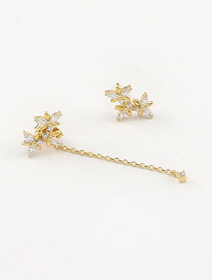 Flower faux-diamond 925silver alloy earrings