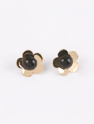 Flower resin 925silver alloy ear studs