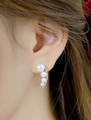 Faux-pearl faux-diamond 925silver alloy ear studs