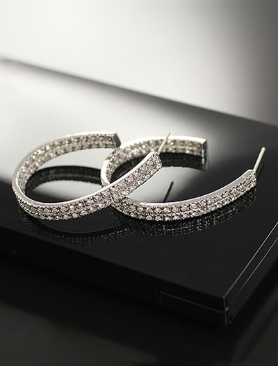 Circle faux-diamond earrings
