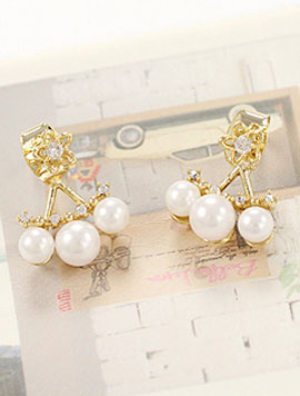 Flower faux-pearl faux-diamond earrings