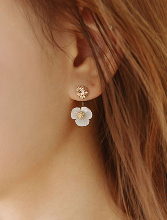 Flower faux-diamond resin earrings