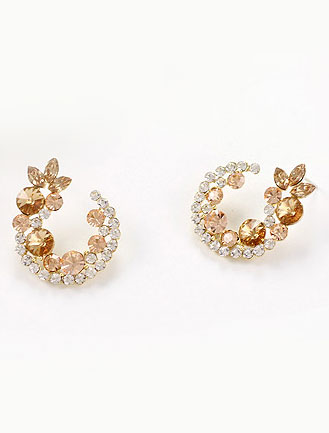 Flower faux-diamond 925silver earrings