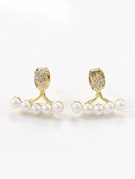 Faux-pearls faux-diamond 925silver earrings
