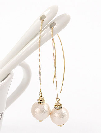 Faux-diamond pendent resin earrings