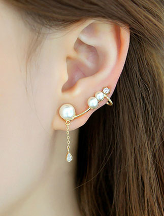 Faux-diamond faux-pearl 925silver earrings