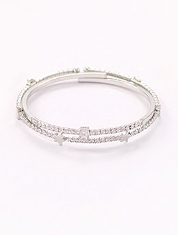 2 set of adjustable faux-diamond bangle