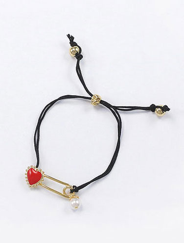 Adjustable heart faux-pearl skull bracelet