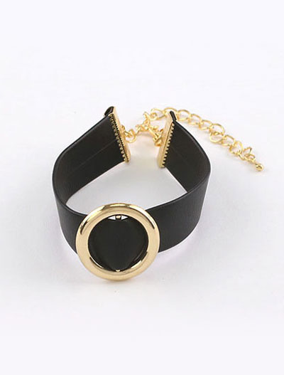 Adjustable alloy PU bracelet
