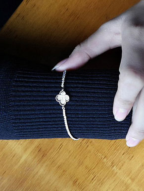 Adjustable clover zircon brass bracelet