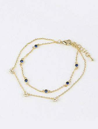 Adjustable double chain faux-diamond bracelet