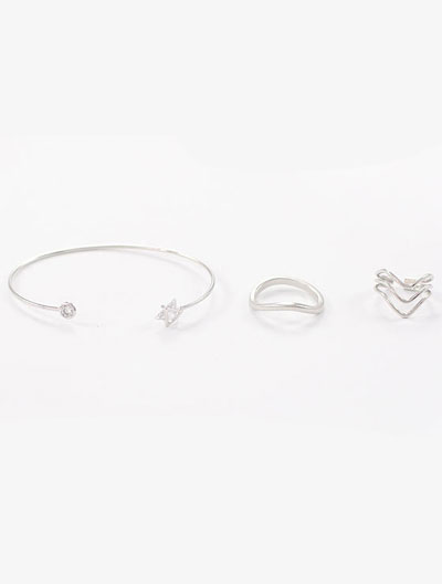 3 set of geometry faux-diamond cuff