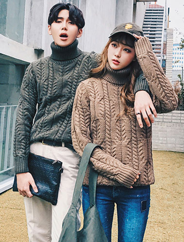 Turtleneck cable-knit wool blend sweater