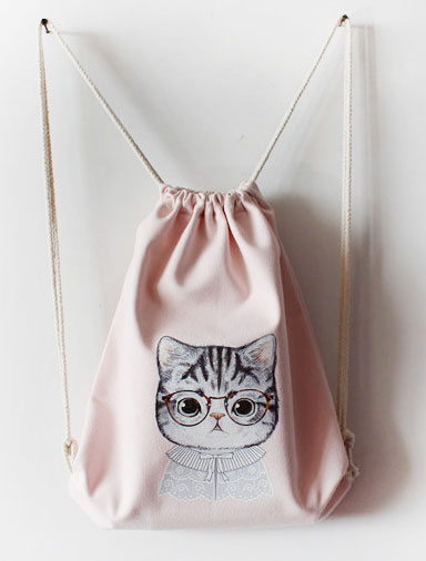 Cute animal printed canvas backpack bag/tote bag