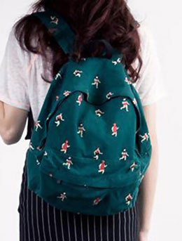 Running fish printed canvas backpack