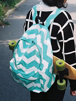 Wave lightning printed canvas backpack