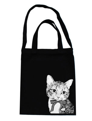 Two way cute cat printed canvas shoulder/tote bag