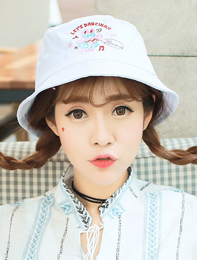 Cartoon embroidered cotton blend bucket hat