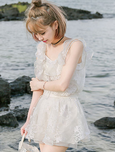 Ruffled organza top + organza tutu mini skirt set