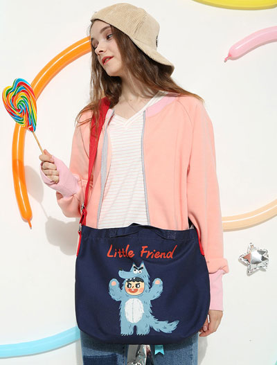 Little friend wolf printed canvas navy blue shoulder bag