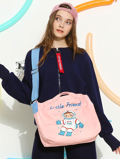 Little friend pilot printed canvas pink shoulder bag