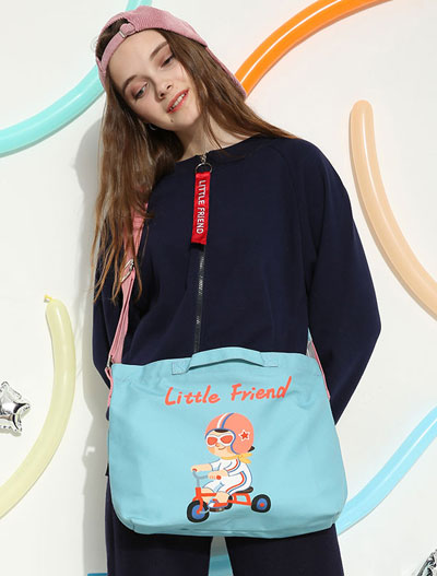Little friend driver printed canvas blue shoulder bag