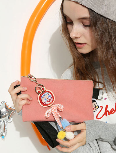 Cartoon pendant PU shoulder bag