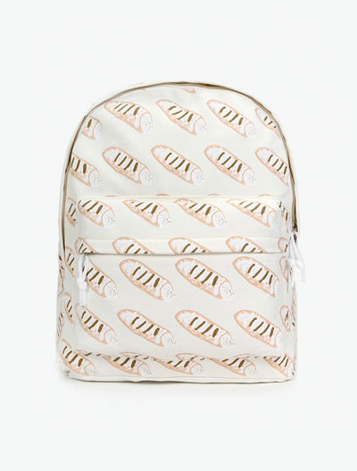 Bread printed canvas backpack