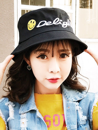 Letter smiling face embroidered bucket hat