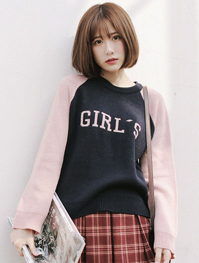 Letter jacquard two-tone sweater