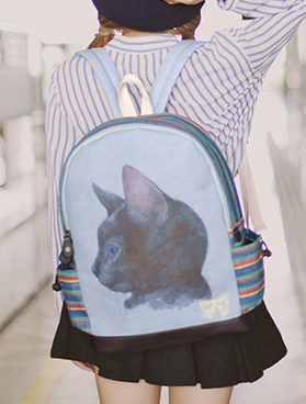Blue cat printed bowknot cotton linen backpack