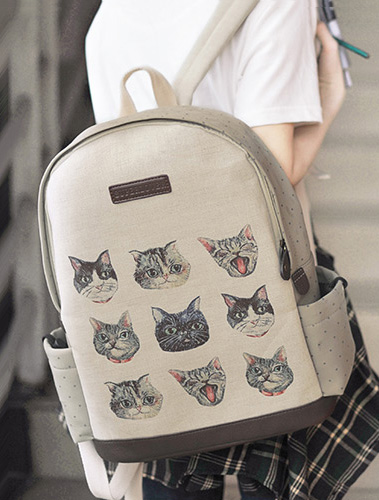Cats printed bowknot cotton linen backpack