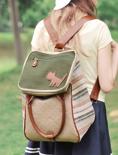 Cat color block cotton backpack