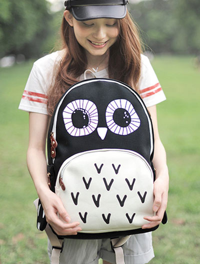 Cute owl printed black canvas backpack