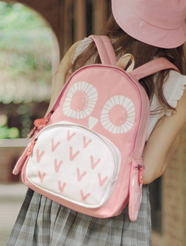 Cute owl printed canvas backpack