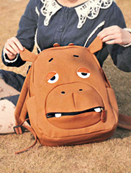 2 set of cartoon hippo big canvas backpack+small backpack