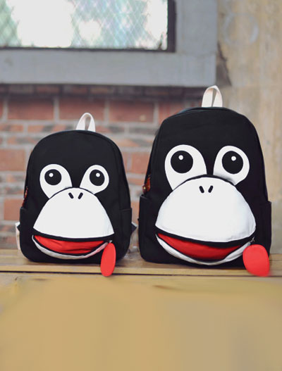 2 set of cartoon animal big canvas backpack+small backpack