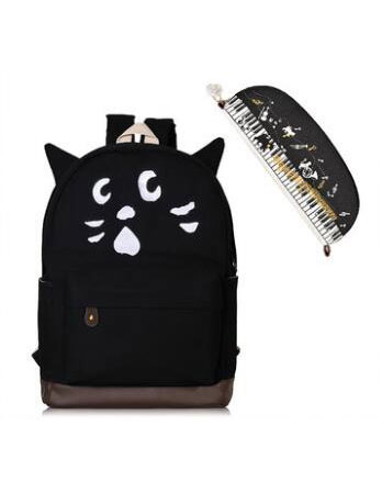 2 set of two-tone cute cat canvas backpack+clutch bag
