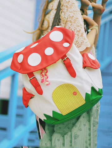 2 set of mushroom big PU backpack+small PU backpack