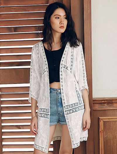 Embroidered lace summer outer