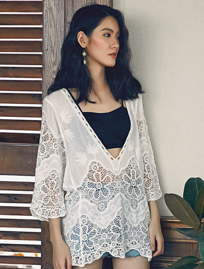 See-through/sheer V-neck lace top