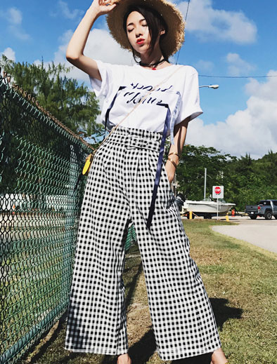Letter printed cotton blend T-shirt+checked wide-leg trousers/pa