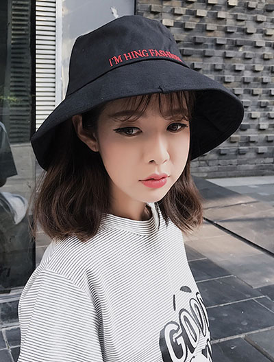 Letter embroidered cotton blend hat