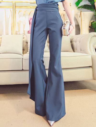 Flared asymmetric trousers/pants
