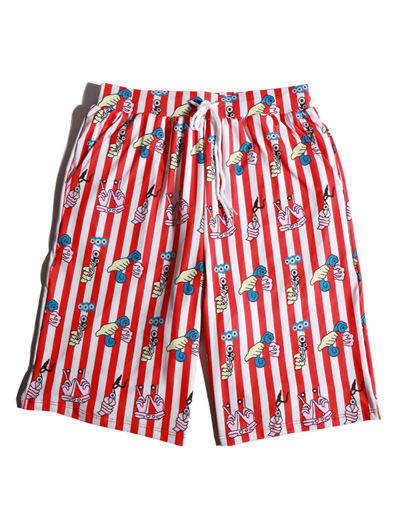 Striped printed swimming trunks