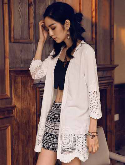 Lace-paneled solid color cardigan