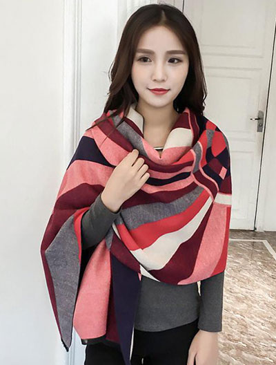 Two way striped color-block red scarf