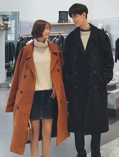 Double-breasted solid color long coat